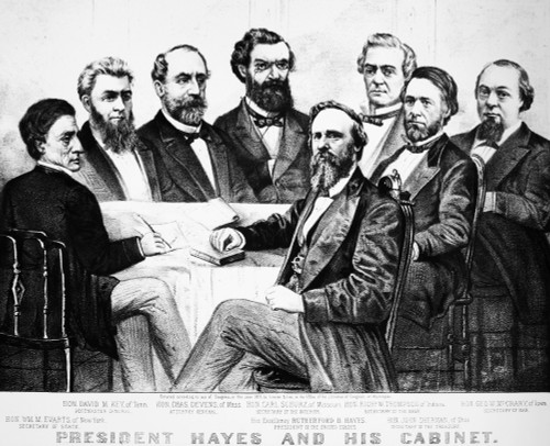 Hayes With His Cabinet. /Npresident Rutherford B. Hayes And His Cabinet. Lithograph, 1877, By Currier & Ives. Poster Print by Granger Collection - Item # VARGRC0018077