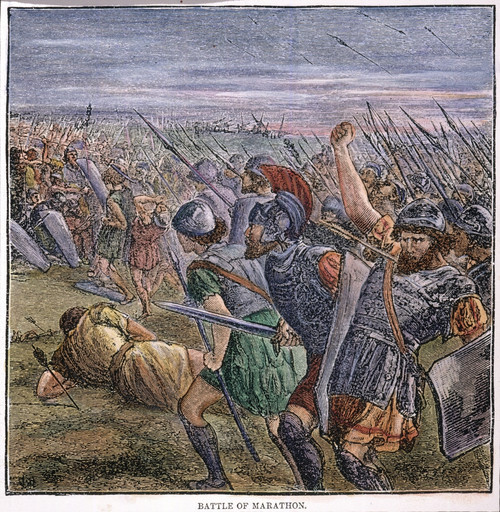 Battle Of Marathon. /Nseptember 490 B.C., During The Persian Wars: Wood Engraving, 19Th Century. Poster Print by Granger Collection - Item # VARGRC0060759