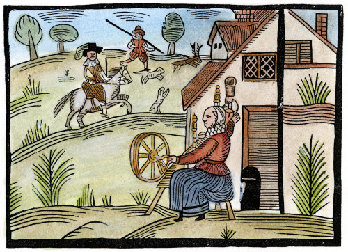 England: Daily Life. /Na Housewife Spins Outside Her Cottage As A Gentleman Goes Hunting For Deer. Woodcut, English, Mid-17Th Century. Poster Print by Granger Collection - Item # VARGRC0054660