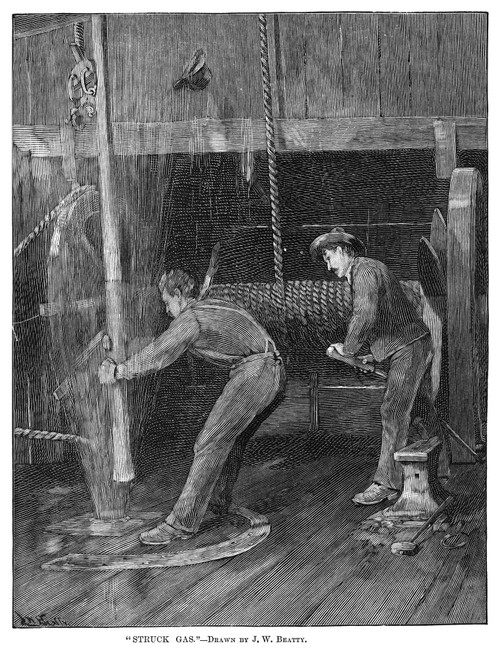 Natural Gas, 1890. /N'Struck Gas.' Workers Trying To Remove Their Drilling Tools From An Oil Well That Has Struck Gas. Engraving, American, 1890. Poster Print by Granger Collection - Item # VARGRC0266012