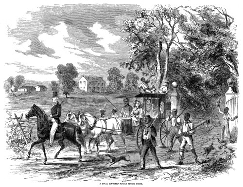 Pro-Union South, 1862. /Na Wealthy, Pro-Union Family Leaving Its Plantation In The South To Flee To The North, 1862. Contemporary American Wood Engraving. Poster Print by Granger Collection - Item # VARGRC0067142
