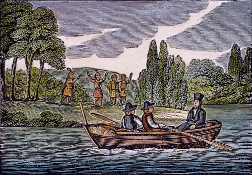 Father Louis Hennepin /N(1640-1710?) And His Party Exploring The Upper Mississippi Region In 1680 As Native Americans Watch From The Shore. Woodcut, German, Early 19Th Century. Poster Print by Granger Collection - Item # VARGRC0051086