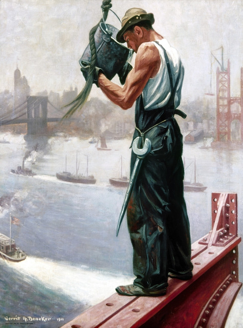New York: Worker, 1911. /N'A Drink Of Water.' Oil On Canvas By Gerrit A. Beneker, 1911. Poster Print by Granger Collection - Item # VARGRC0102571