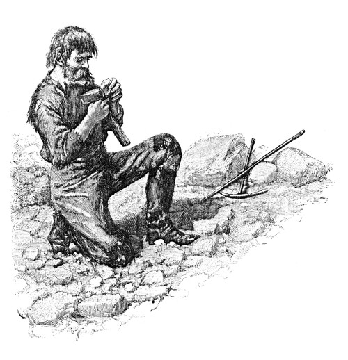 Gold Rush: Prospector. /Na Prospector Examines A Nugget Of Gold In The American West. Wood Engraving, Mid Or Late 19Th Century. Poster Print by Granger Collection - Item # VARGRC0173139