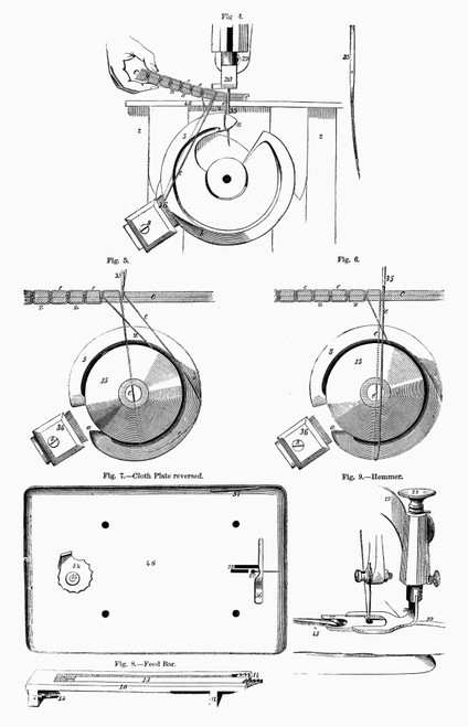 Sewing Machine, 1850S. /Ndetails Of The Sewing Machine Patented By Wheeler & Wilson In The 1805S. Line Engraving. Poster Print by Granger Collection - Item # VARGRC0097646