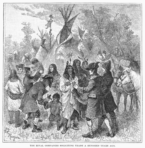 Canada: Fur Trade, C1780. /Nagents Of The Hudson'S Bay Company And The North-West Company Competing For Trade With Native Americans In Canada, C1780. Wood Engraving, American, 1879. Poster Print by Granger Collection - Item # VARGRC0096046