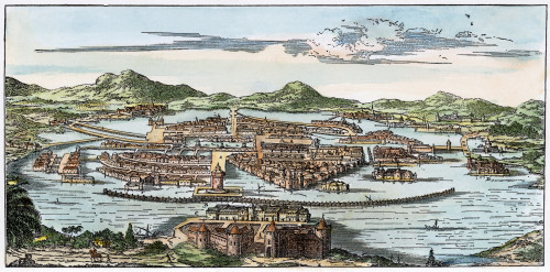 Mexico City, 1671. /Nmexico City Under The Spanish Conquerors. Line Engraving, 19Th Century, After An Engraving Of 1671. Poster Print by Granger Collection - Item # VARGRC0009180