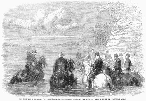 Daniel Edgar Sickles /N(1825-1914). American Politician And Soldier. General Sickles Conferring With Staff In The Potomac River. Wood Engraving, English, 1861. Poster Print by Granger Collection - Item # VARGRC0090747