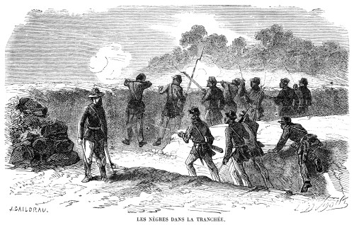 Civil War: Black Troops. /Nblack Soldiers Serving In The Trenches With The Union Army. Wood Engraving, French, 1864. Poster Print by Granger Collection - Item # VARGRC0017266