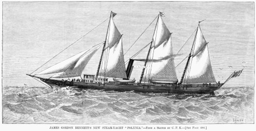 Steam-Yacht, 1880. /Njames Gordon Bennett, Jr.'S Steam-Yacht, 'Polynia.' Engraving, American, 1880. Poster Print by Granger Collection - Item # VARGRC0266003