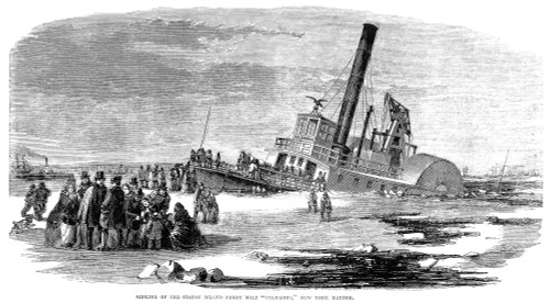 Staten Island Ferry, 1856. /Nsinking Of The Staten Island Steam Ferry Boat 'Columbus' In New York Harbor, January 1856. Wood Engraving From A Contemporary American Newspaper. Poster Print by Granger Collection - Item # VARGRC0052582