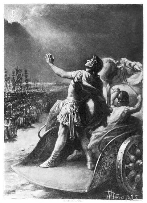 Constantine I (D. 337). /Nconstantine The Great. Roman Emperor, 306-337. The Conversion Of Constantine At The Milvian Bridge In 312: Gravure After A Painting, 1895, By Stephen James Ferris. Poster Print by Granger Collection - Item # VARGRC0005923