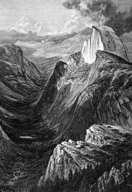 Yosemite: Tenaya Canyon. /Ntenaya Canyon Viewed From The Glacier Point Rock Formation, In The Yosemite Valley. Wood Engraving, American, 1874. Poster Print by Granger Collection - Item # VARGRC0000613