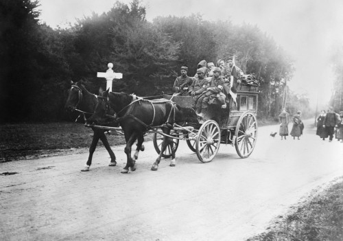 Wwi: Red Cross, 1914. /Na Red Cross Ambulance Carrying Wounded Soldiers In The Forest Of Laigne, France. Photograph, 1914. Poster Print by Granger Collection - Item # VARGRC0354239
