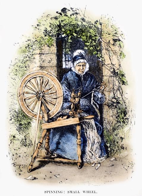 Textiles: Spinning Wheel. /Nan 18Th Century American Spinning Wheel. Wood Engraving, 19Th Century. Poster Print by Granger Collection - Item # VARGRC0087912