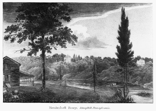 Schuylkill Ferry, 1808. /Nmendelhall Ferry And An Inn On The Schuylkill River Near Philadelphia, Pennsylvania. Wood Engraving, American, 1808. Poster Print by Granger Collection - Item # VARGRC0125697