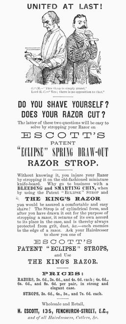 Razor Strop, 1886. /Nenglish Newspaper Advertisement For Escott'S Patent 'Eclipse' Strops, 1886. Poster Print by Granger Collection - Item # VARGRC0090746