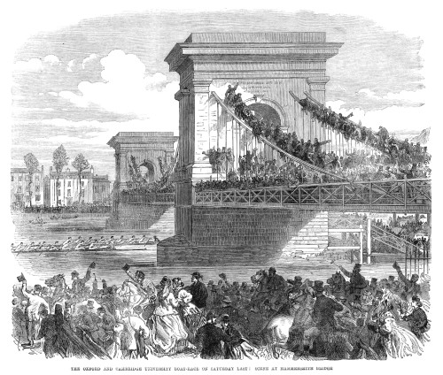 England: Boat Race, 1866. /Nspectators On The Hammersmith Bridge, Watching The Oxford And Cambridge Universities Yearly Boat Race On The Thames River. Wood Engraving, English, 1866. Poster Print by Granger Collection - Item # VARGRC0265051