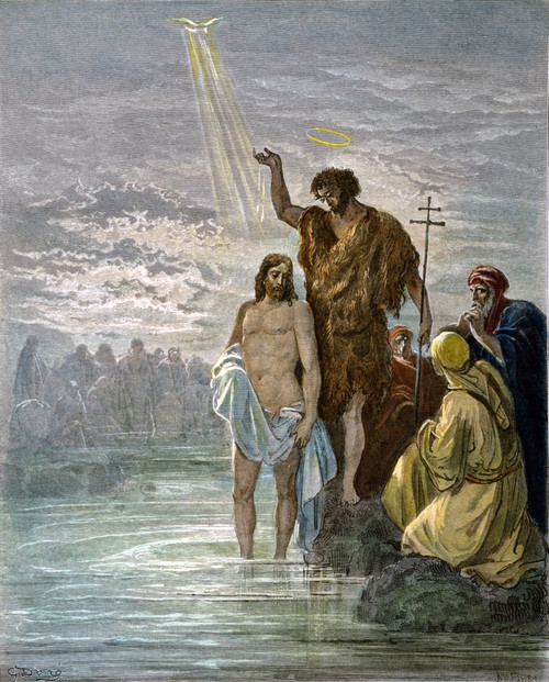 Dor_: Baptism Of Jesus. /N(Matthew 3:16, 17). Wood Engraving After Gustave Dor_. Poster Print by Granger Collection - Item # VARGRC0048064