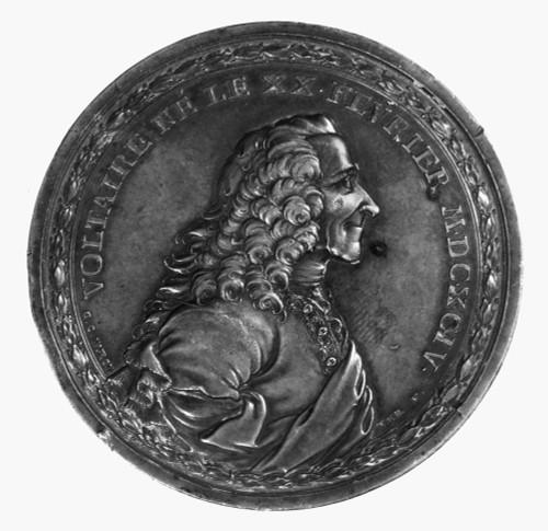 Voltaire (1694-1778)./Nassumed Name Of Fran�Ois Marie Arouet, French Man Of Letters. Copy Of Bronze Medallion Made In 1770 By G.C. Wachter. Poster Print by Granger Collection - Item # VARGRC0113046