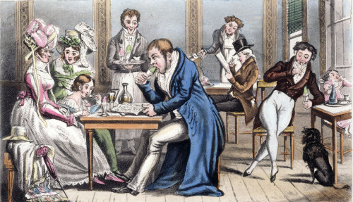 Occupation Of Paris, 1815. /N'John Bull And His Family At An Ice-Cafe.' Satirical 19Th Century French Lithograph. Poster Print by Granger Collection - Item # VARGRC0044698