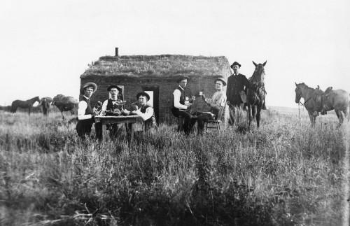 Nebraska: Settlers, 1886. /Nperry Brothers In Front Of Their Sod House Near Merna, Custer County, Nebraska. Photograph Solomon D. Butcher, 1886. Poster Print by Granger Collection - Item # VARGRC0183838