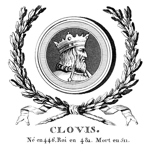 Clovis (C466-511). /Nking Of The Salian Franks 481-511. Copper Engraving, French, 18Th Century. Poster Print by Granger Collection - Item # VARGRC0016988