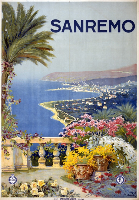 Italian Travel Poster, C1920. /Nposter Promoting Sanremo, Italy. Lithograph, C1920. Poster Print by Granger Collection - Item # VARGRC0527223