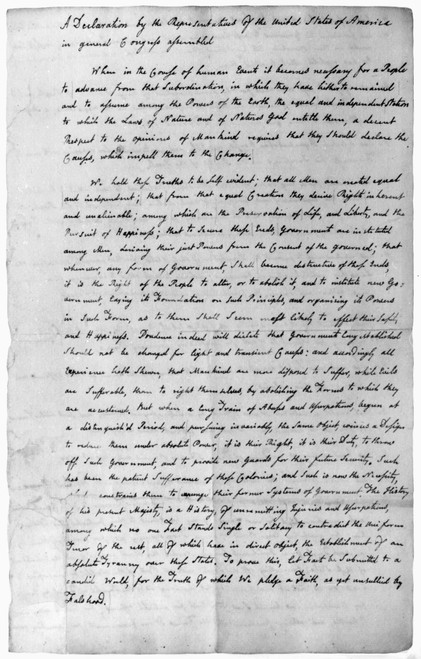 Declaration Of Independence. /Nthe First Page Of John Adams' Copy Of The Declaration Of Independence, In His Own Handwriting, June 1776. Poster Print by Granger Collection - Item # VARGRC0106849