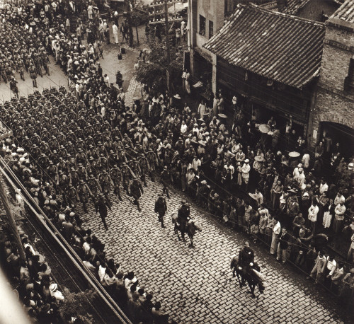China: Military Parade, 1946. /Naerial View Of Provincial Troops Marching Along City Street In The Kiangsu Province, China. Photograph By Arthur Rothstein, 1946. Poster Print by Granger Collection - Item # VARGRC0114586