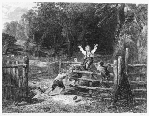 Children: Games & Pastimes. /N'The Old Farm Gate.' Steel Engraving After The Painting By William Collins (1788-1847). Poster Print by Granger Collection - Item # VARGRC0000533
