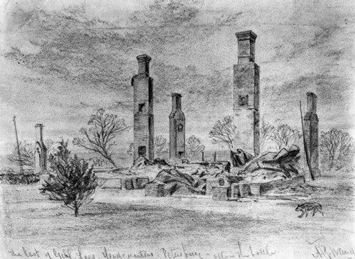Civil War: Ruins, 1865. /Nthe Ruins Of Robert E. Lee'S Headquarters At Petersburg, Virginia, In April 1865. Contemporary Pencil Drawing By Alfred R. Waud. Poster Print by Granger Collection - Item # VARGRC0001142
