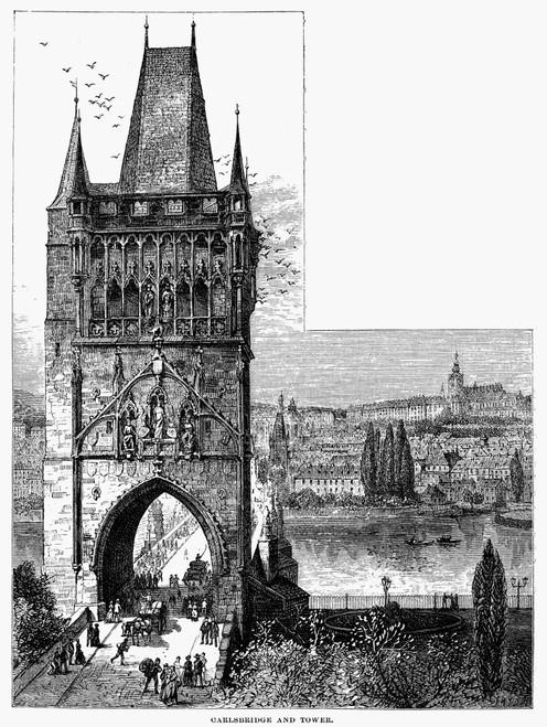 Prague: Carlsbridge. /Ncarlsbridge And Tower At Prague, Czech Republic. Wood Engraving, 19Th Century. Poster Print by Granger Collection - Item # VARGRC0094700