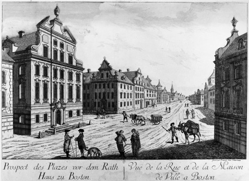 Boston, 1770S. /N'View Of The Main Street And Town Hall Of Boston,' Massachusetts. Line Engraving, French, From The Time Of The American Revolutionary War. Poster Print by Granger Collection - Item # VARGRC0119533