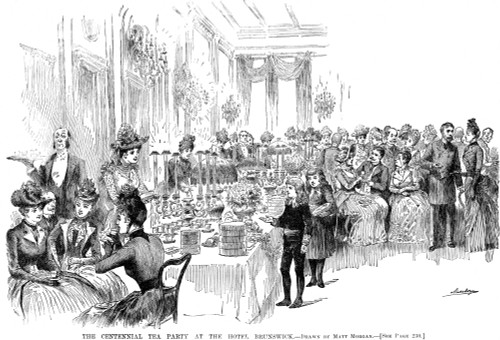 Centennial Tea Party, 1889. /N'The Centennial Tea Party At The Hotel Brunswick.' Wood Engraving, American, 1889. Poster Print by Granger Collection - Item # VARGRC0077387