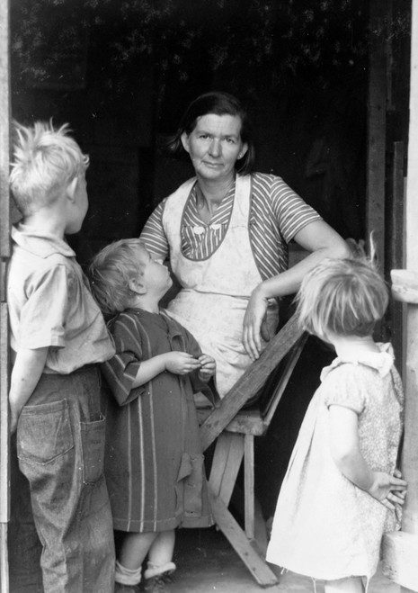 Oklahoma Squatters, 1935. /Na Woman With Her Children At The Entrance To A Squatter'S Shelter In Riverside County, Oklahoma. Photograph By Dorothea Lange, 1935. Poster Print by Granger Collection - Item # VARGRC0106242