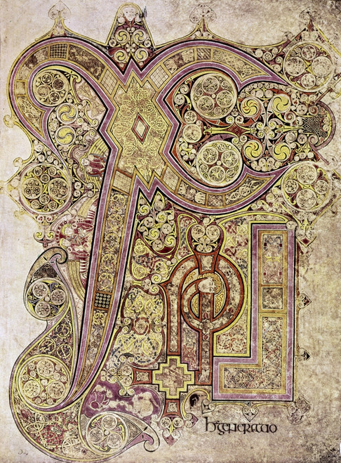 Book Of Kells: Christ Page. /Ninitial Letter From The Christ Page Of The Book Of Kells, C800 A.D. Poster Print by Granger Collection - Item # VARGRC0116839