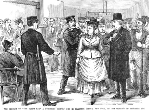 New York Police Raid, 1875. /Nwood Engraving, 1875. Poster Print by Granger Collection - Item # VARGRC0017799