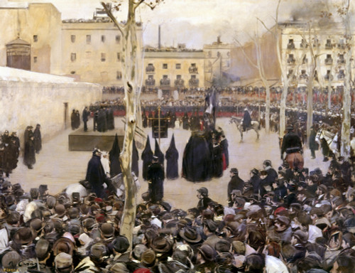Spain: Execution, C1893. /Na Man Who Threw A Bomb Into The Liceu Theater Club In Barcelona Is Publicly Executed By Garrote (Strangulation), C1893. Oil On Canvas, 1895, By Ramon Casas. Poster Print by Granger Collection - Item # VARGRC0104846