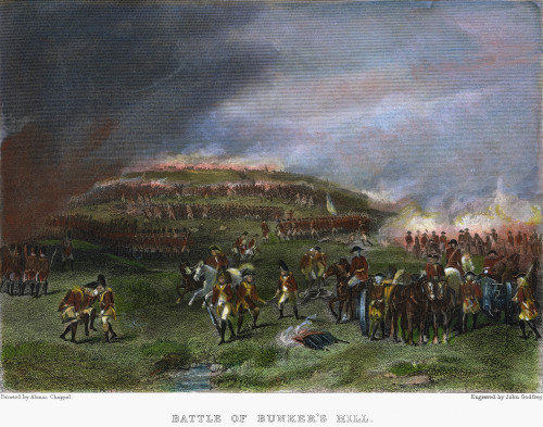 Battle Of Bunker Hill, 1775. /Nbehind The British Lines At The Battle Of Bunker Hill, 17 June 1775: American Engraving After A Painting By Alonzo Chappel, 19Th Century. Poster Print by Granger Collection - Item # VARGRC0050990