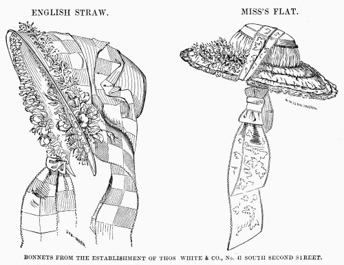Fashion: Bonnets, 1854. /Nbonnets Made By Thomas White And Company, 41 South Second Street, Philadelphia. Wood Engraving, 1854. Poster Print by Granger Collection - Item # VARGRC0101141