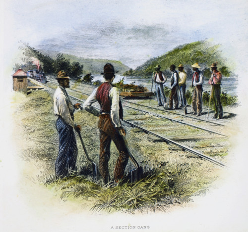 Railroad Construction. /Nsteel Engraving, American, C1870. Poster Print by Granger Collection - Item # VARGRC0085440