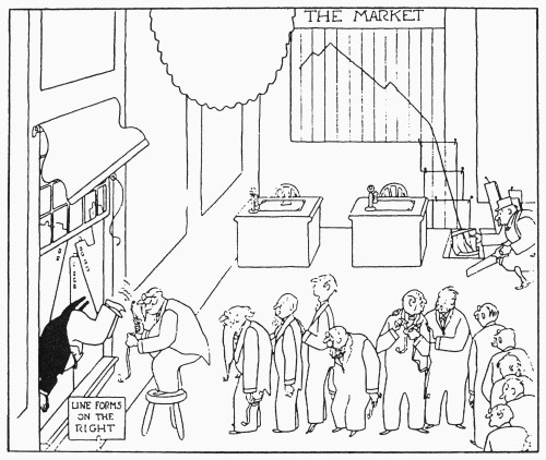 Cartoon: Wall Street Crash, 1929. Brokers Line Up To Throw Themselves Out Of The Window After The Stock Market Crash Of 29 October 1929. Cartoon, 1929. Poster Print by Granger Collection - Item # VARGRC0056966