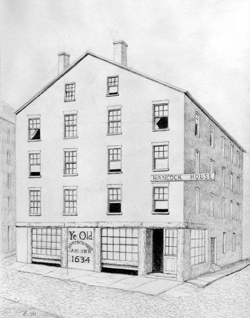 Boston: Inn. /Nhancock House Inn, Established In 1634. Drawing By Edwin Whitefield For 'Homes Of Our Forefathers,' 1892. Poster Print by Granger Collection - Item # VARGRC0119670