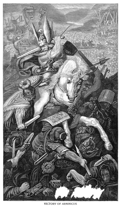 Arminius (C17 B.C.-21 A.D.). /Ngerman National Hero. The Victory Of Arminius Over Three Roman Legions At The Battle Of Teutoburg Forest In 9 A.D. Line Engraving, 19Th Century. Poster Print by Granger Collection - Item # VARGRC0029586