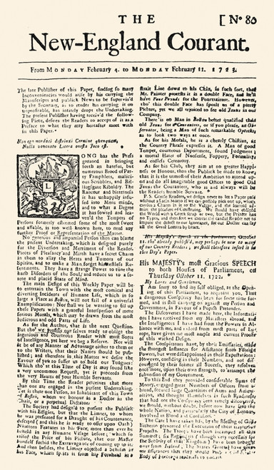 New England Courant, 1723. /Nan Early Issue Of The New England Courant, 1723, Published At Boston By James Franklin Whose Brother, Benjamin, Was A Youthful Contributor To The Paper. Poster Print by Granger Collection - Item # VARGRC0012567