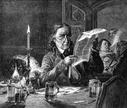 Man Reading, 1850. /N'The Politician.' Wood Engraving, 1850, After Johann Peter Hasenclever (1810-1853). Poster Print by Granger Collection - Item # VARGRC0057666