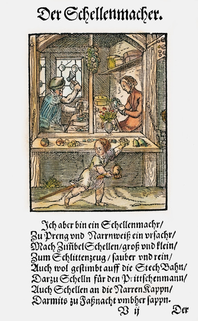 Bell Maker, 1568. /Na Maker Of Small Bells, To Be Used For Such Items As Tambourines, Sleighs, And Fools' Caps. Woodcut, 1568, By Jost Amman. Poster Print by Granger Collection - Item # VARGRC0104601