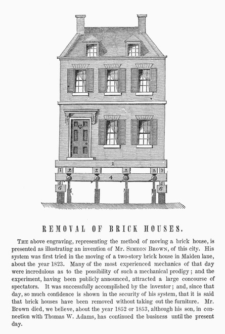 Moving A Brick House, 1823. /Nmethod First Used To Move A Brick House In Maiden Lane, New York, In 1823. Wood Engraving, American, 1859. Poster Print by Granger Collection - Item # VARGRC0091780