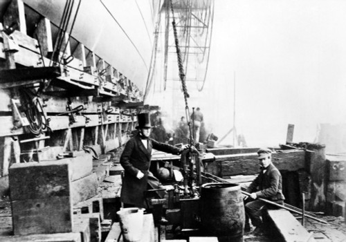 Steamship: 'Great Eastern.' /Nengineer Richard Tangye Beside One Of The Tangye Hydraulic Rams Used For The Sixth Launch Attempt Of The 'Great Eastern,' December 1857. Poster Print by Granger Collection - Item # VARGRC0001691